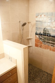River Rock shower floor, Marble shower walls